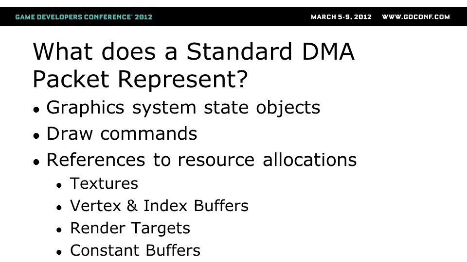 What does a Standard DMA Packet Represent