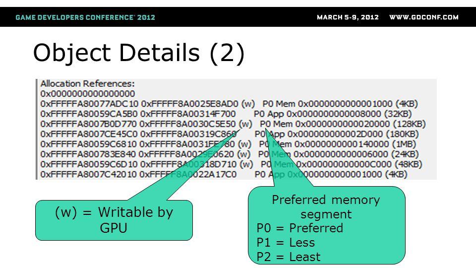 Preferred memory segment