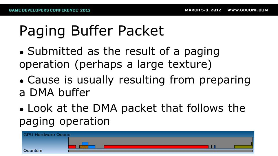 Paging Buffer Packet Submitted as the result of a paging operation (perhaps a large texture) Cause is usually resulting from preparing a DMA buffer.