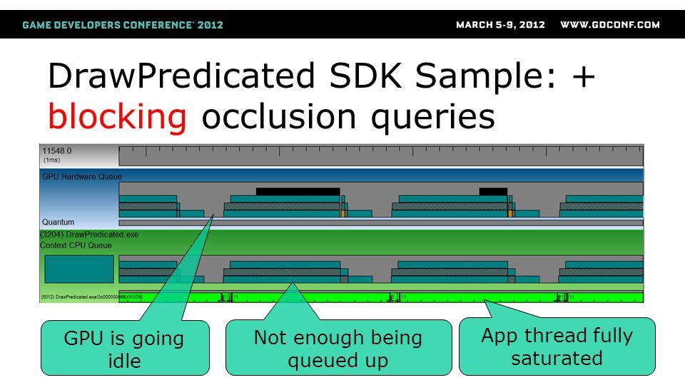 DrawPredicated SDK Sample: + blocking occlusion queries