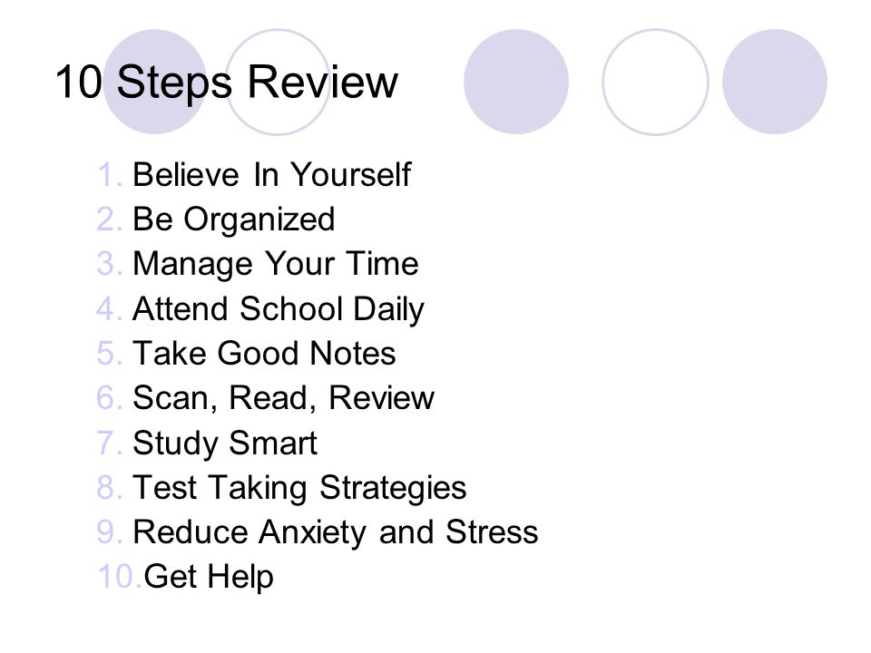 10 Steps Review Believe In Yourself Be Organized Manage Your Time