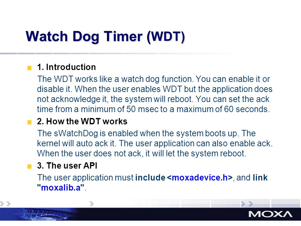 Watch Dog Timer (WDT) 1. Introduction