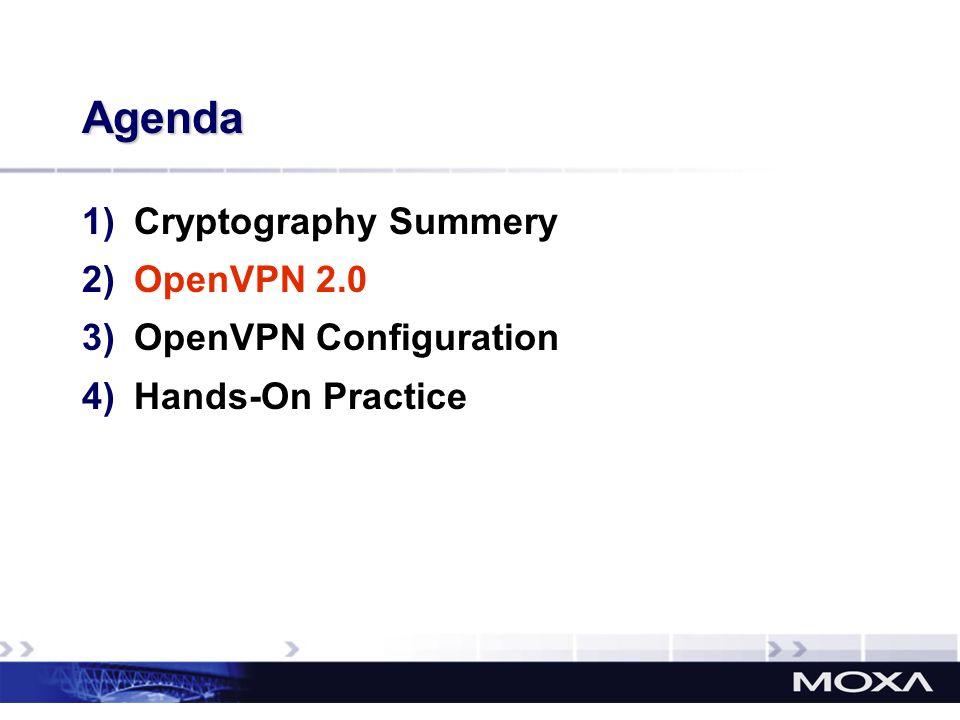 Agenda Cryptography Summery OpenVPN 2.0 OpenVPN Configuration