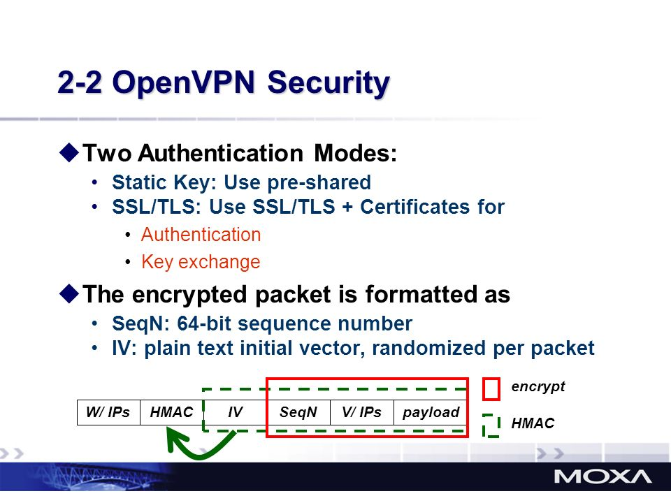 2-2 OpenVPN Security Two Authentication Modes: