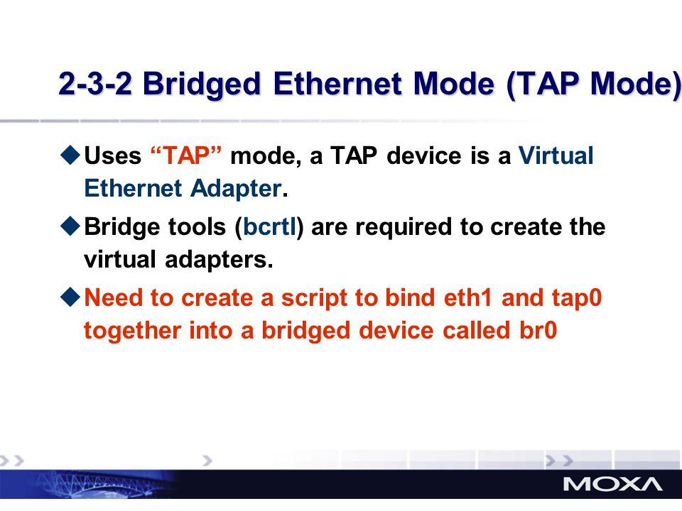 2-3-2 Bridged Ethernet Mode (TAP Mode)
