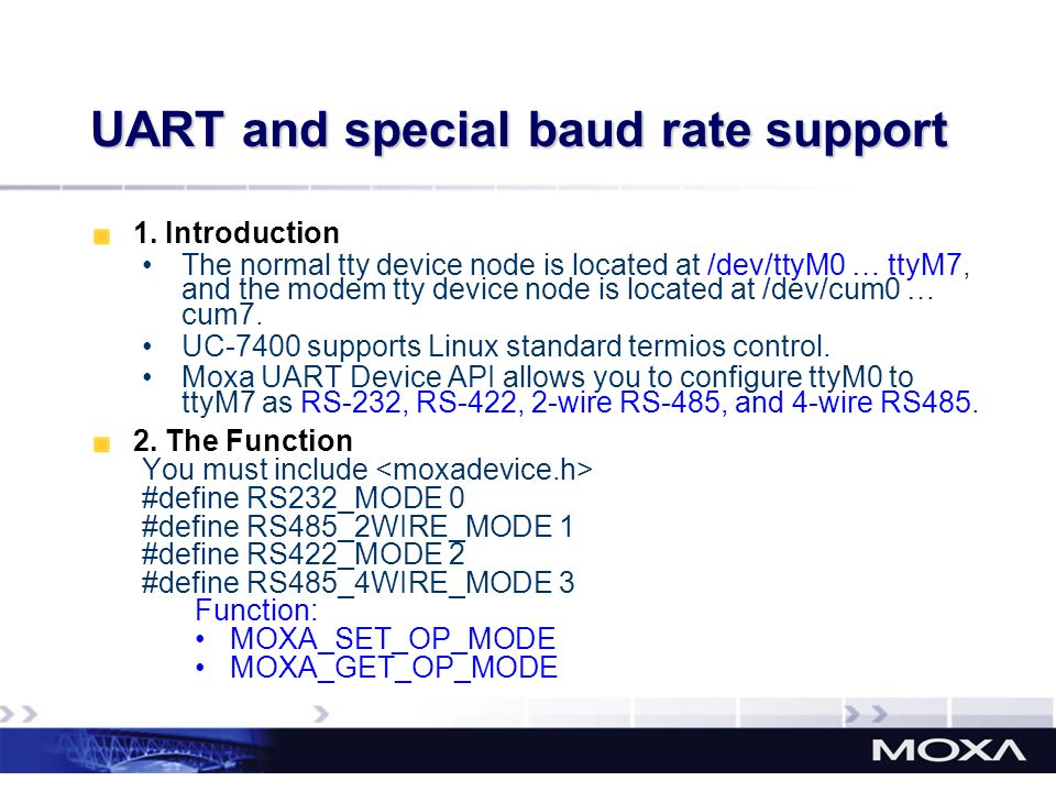 UART and special baud rate support