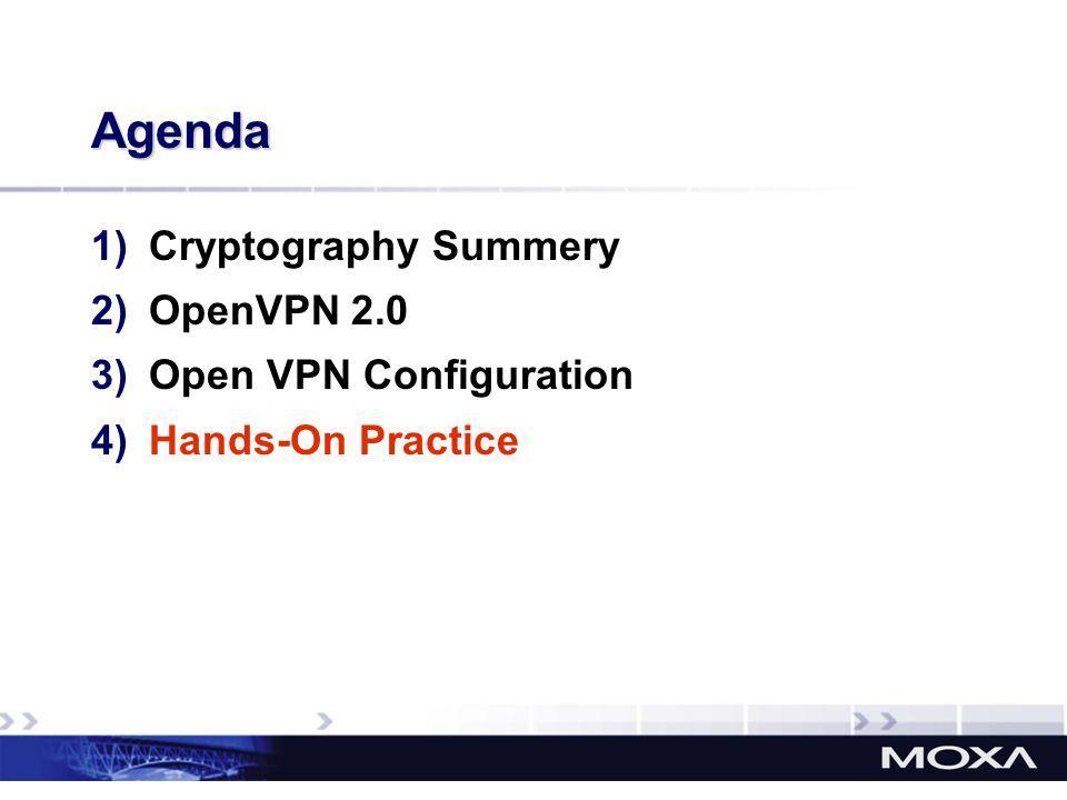 Agenda Cryptography Summery OpenVPN 2.0 Open VPN Configuration