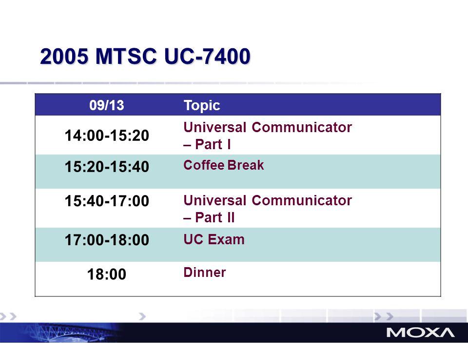 2005 MTSC UC-7400 09/13. Topic. 14:00-15:20. Universal Communicator. – Part I. 15:20-15:40. Coffee Break.