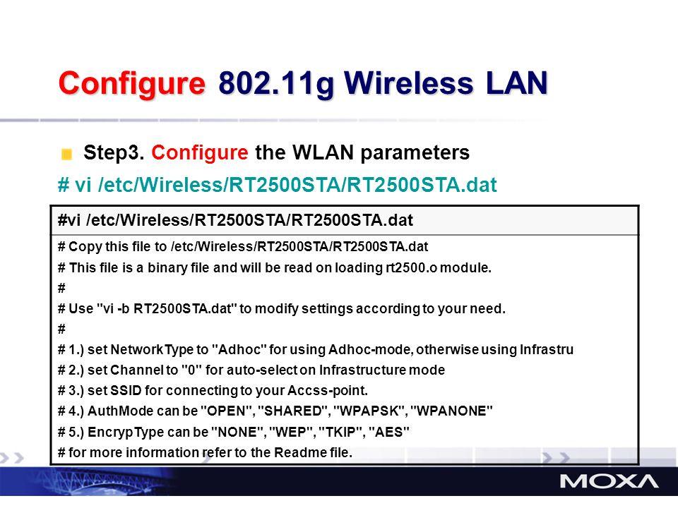 Configure 802.11g Wireless LAN