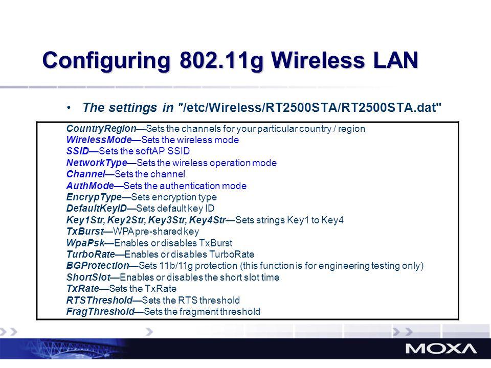 Configuring 802.11g Wireless LAN