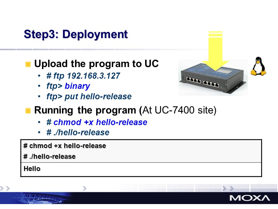 Step3: Deployment Upload the program to UC