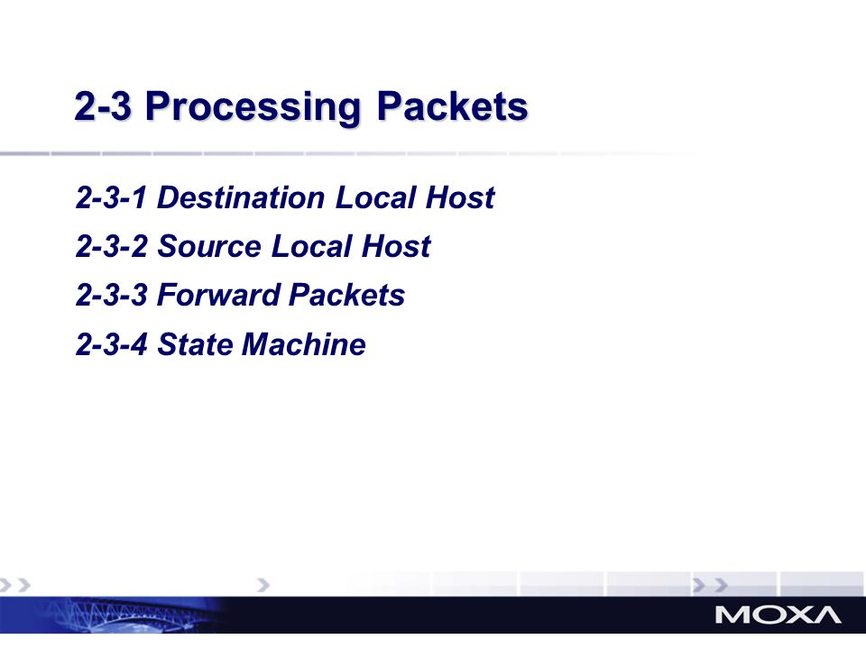 2-3 Processing Packets 2-3-1 Destination Local Host