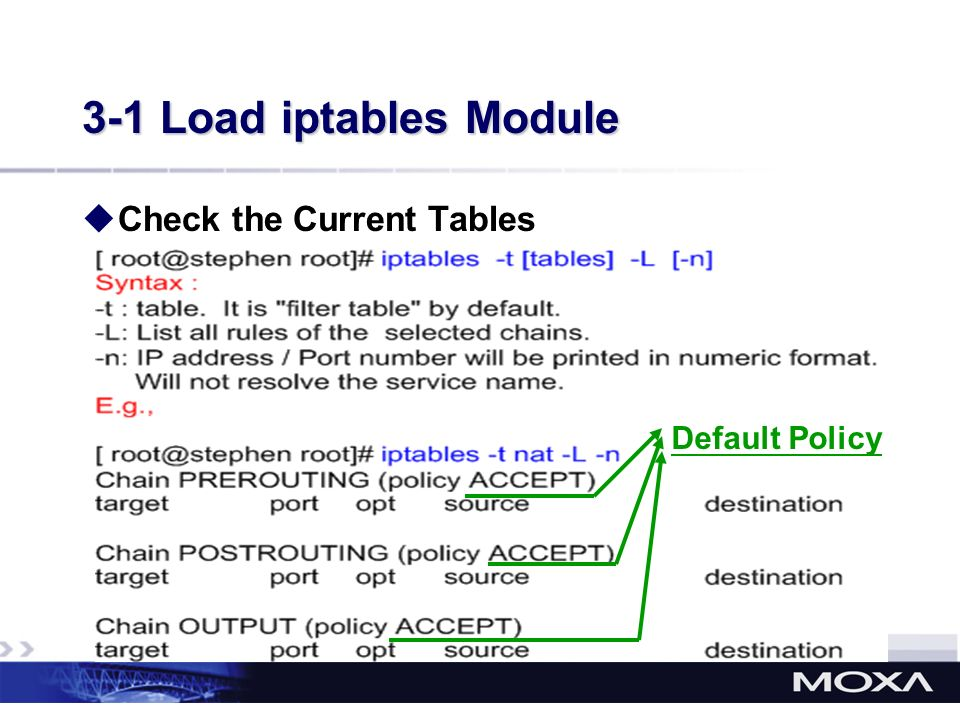3-1 Load iptables Module Check the Current Tables Default Policy