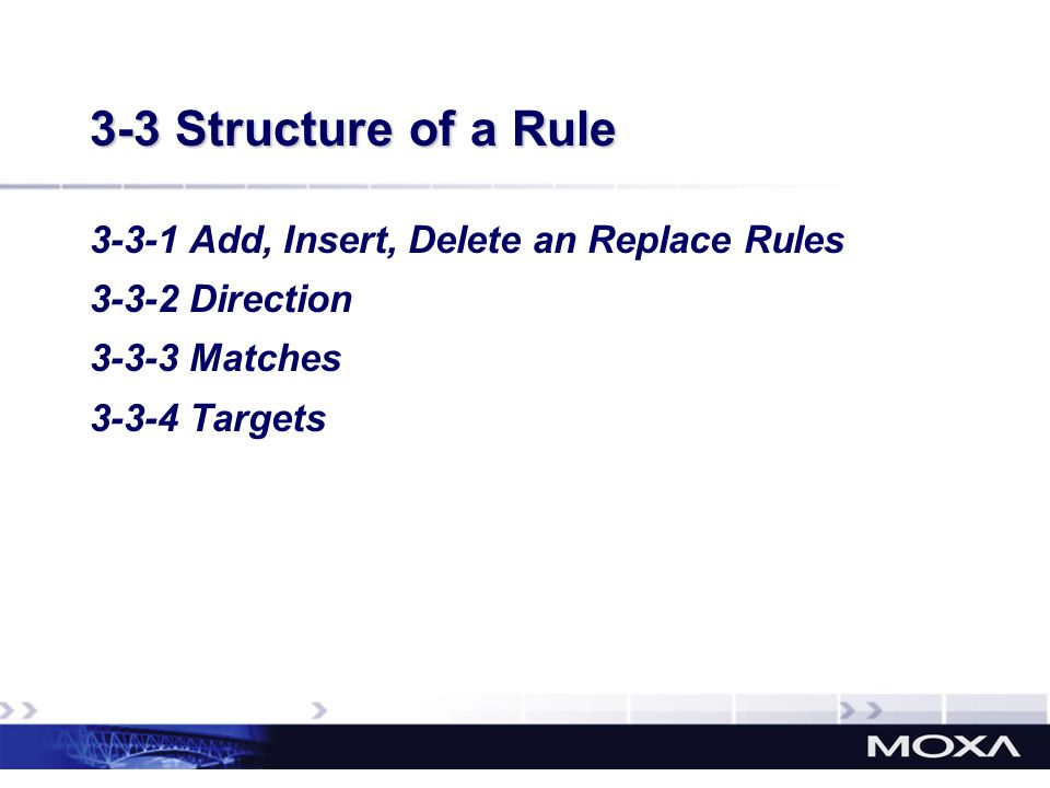 3-3 Structure of a Rule 3-3-1 Add, Insert, Delete an Replace Rules