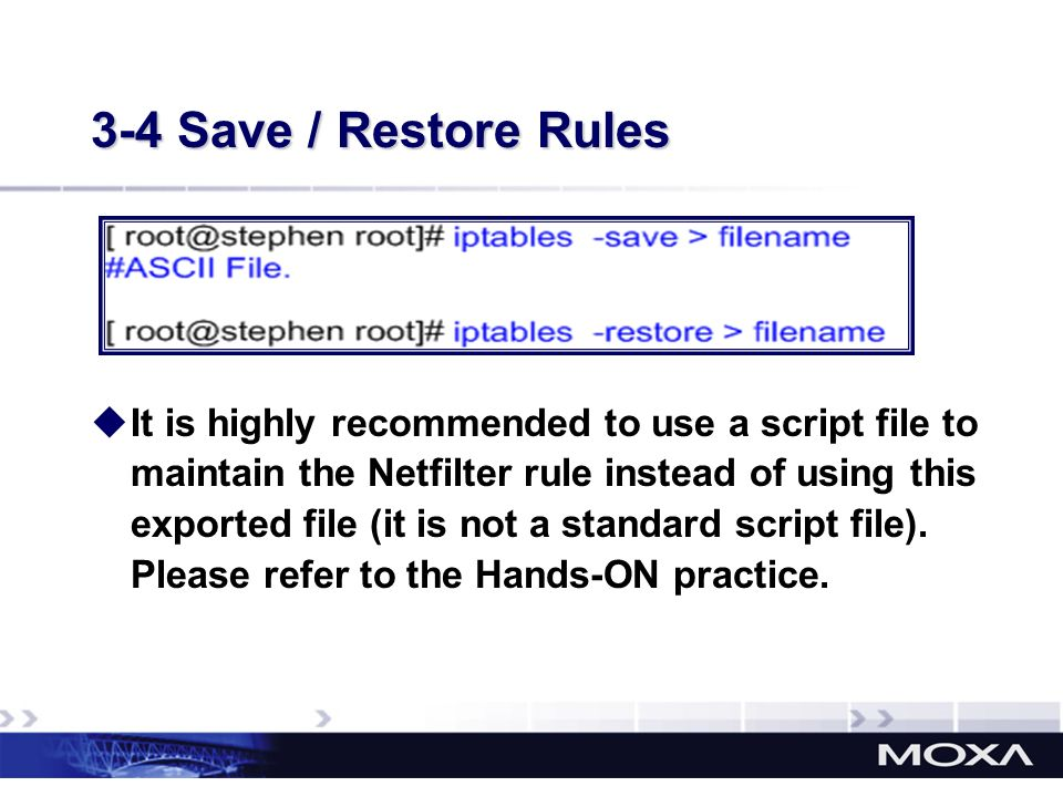 3-4 Save / Restore Rules