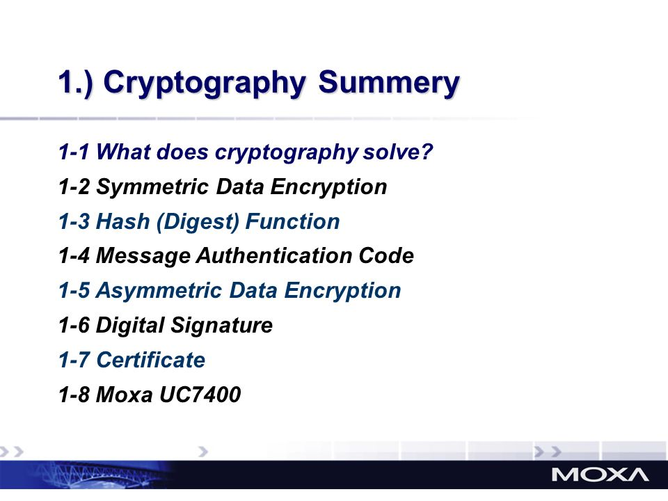 1.) Cryptography Summery