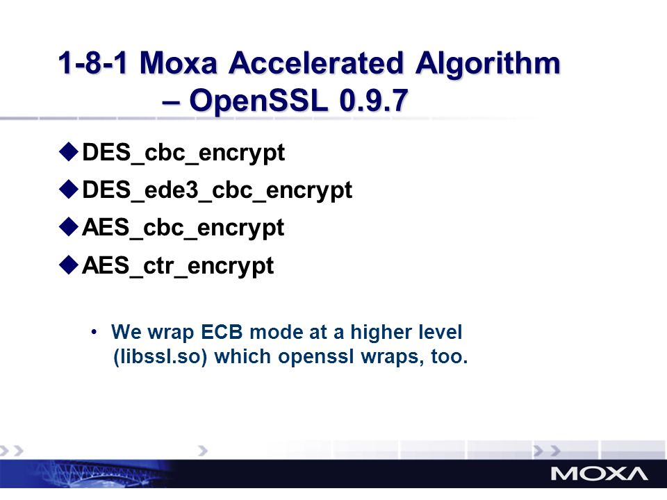 1-8-1 Moxa Accelerated Algorithm – OpenSSL 0.9.7