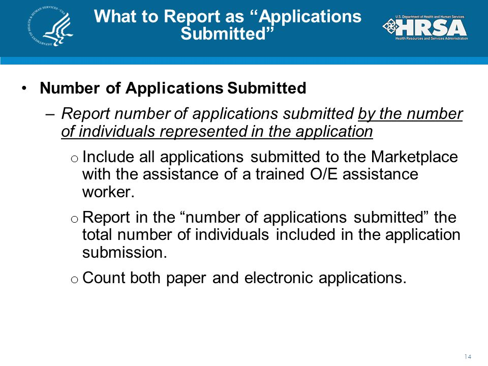 What to Report as Applications Submitted