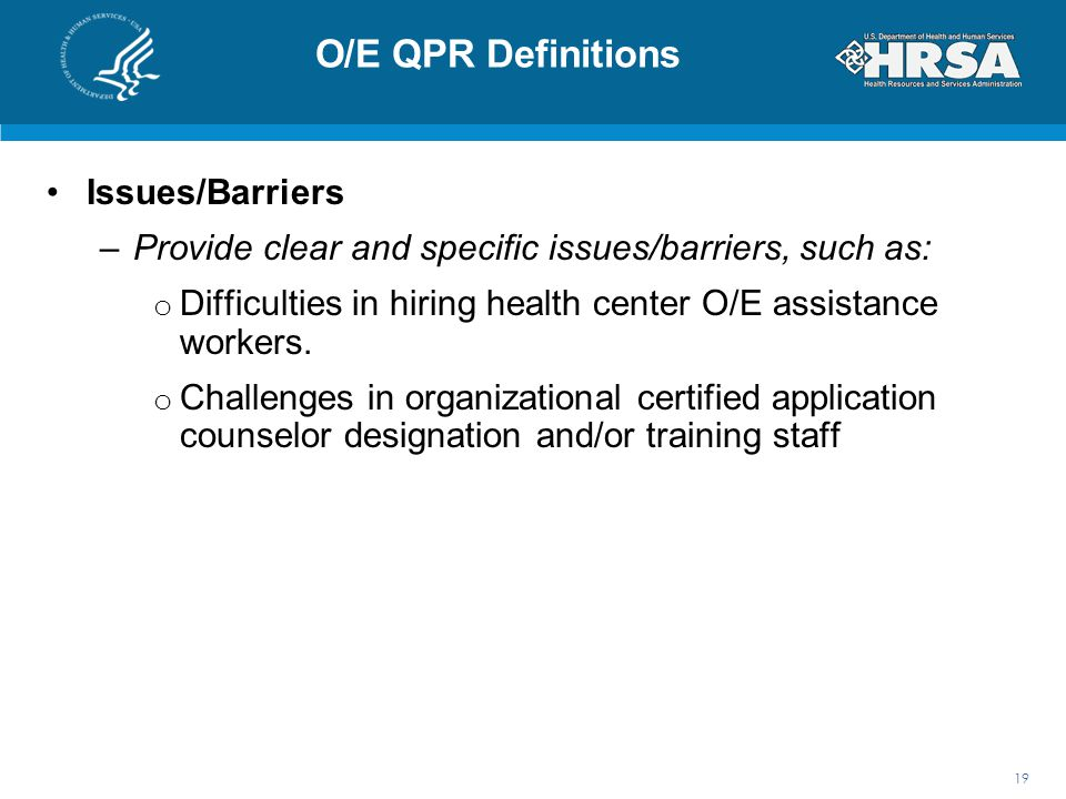 O/E QPR Definitions Issues/Barriers