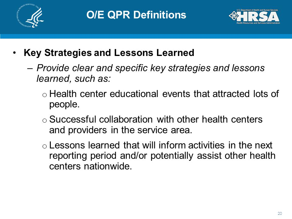 O/E QPR Definitions Key Strategies and Lessons Learned