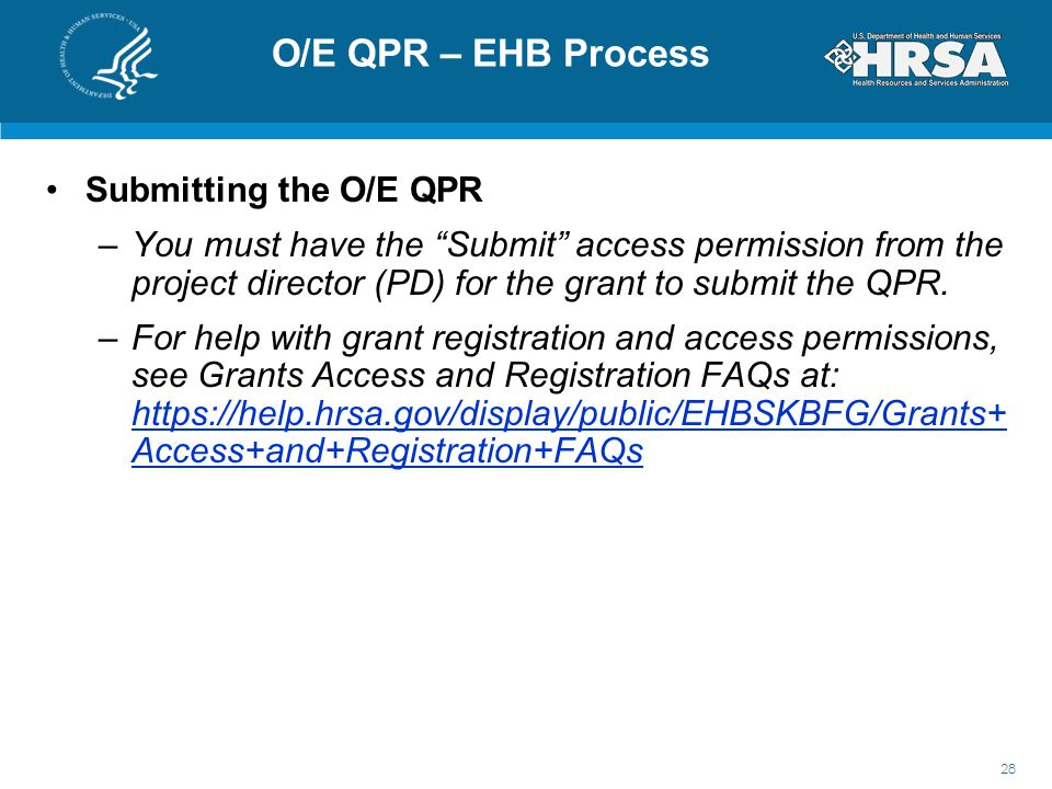O/E QPR – EHB Process Submitting the O/E QPR