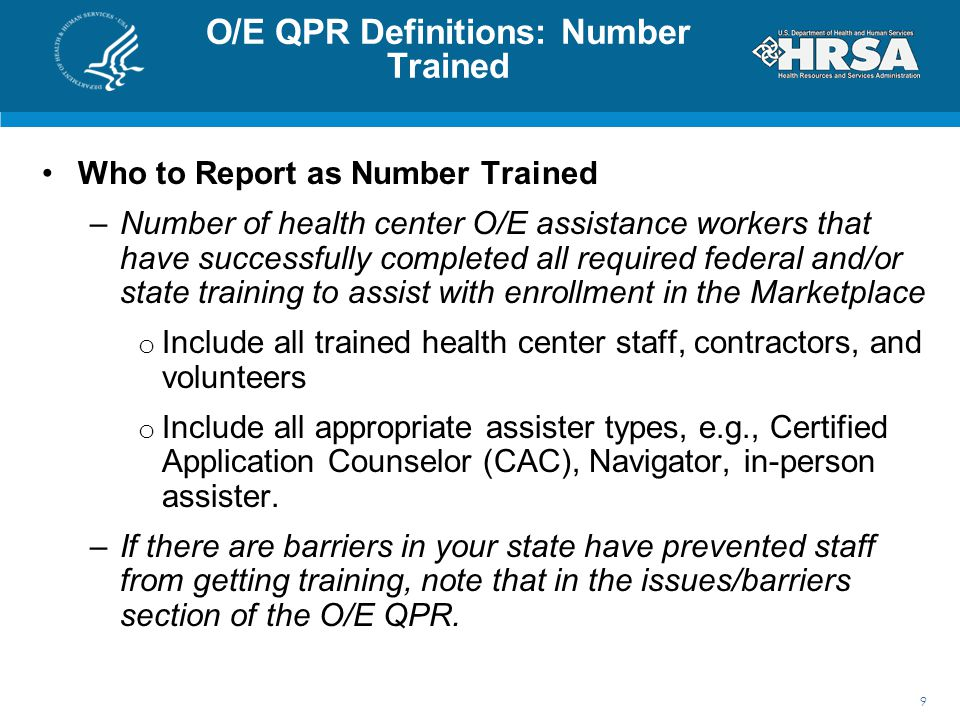O/E QPR Definitions: Number Trained
