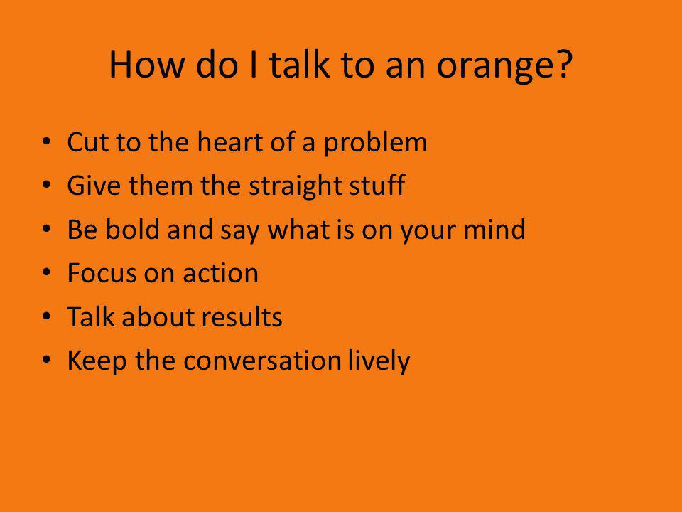 How do I talk to an orange