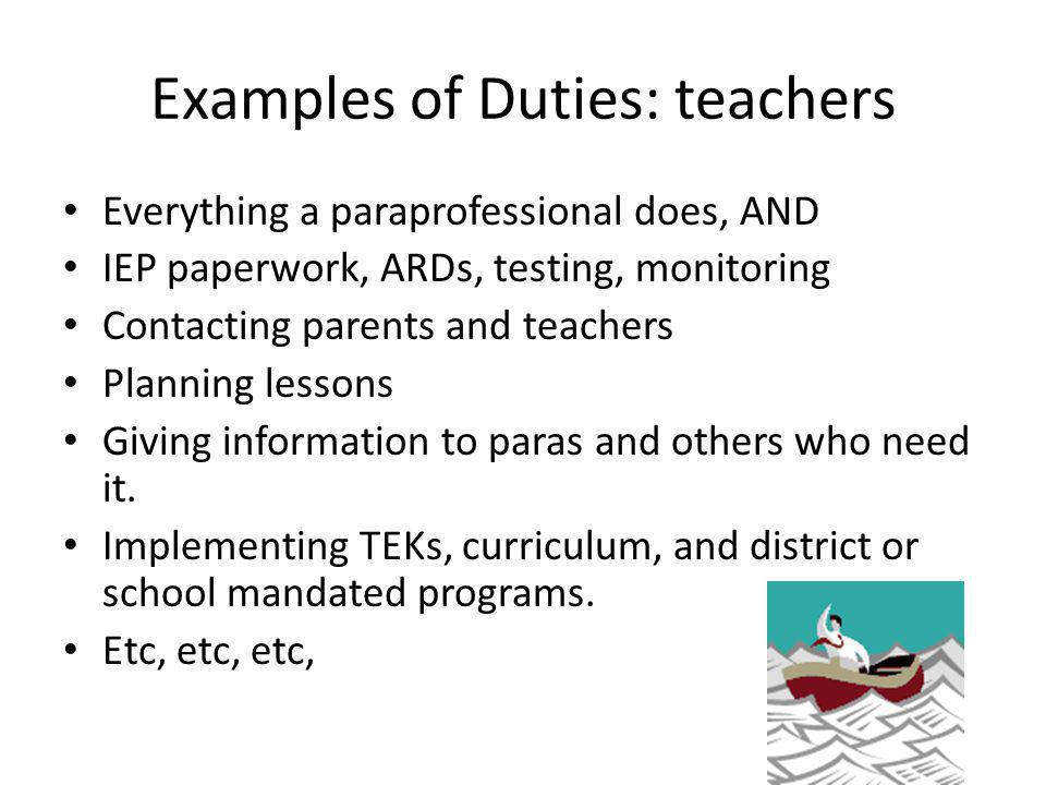 Examples of Duties: teachers