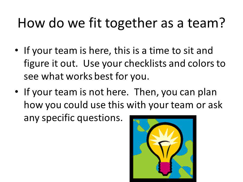 How do we fit together as a team