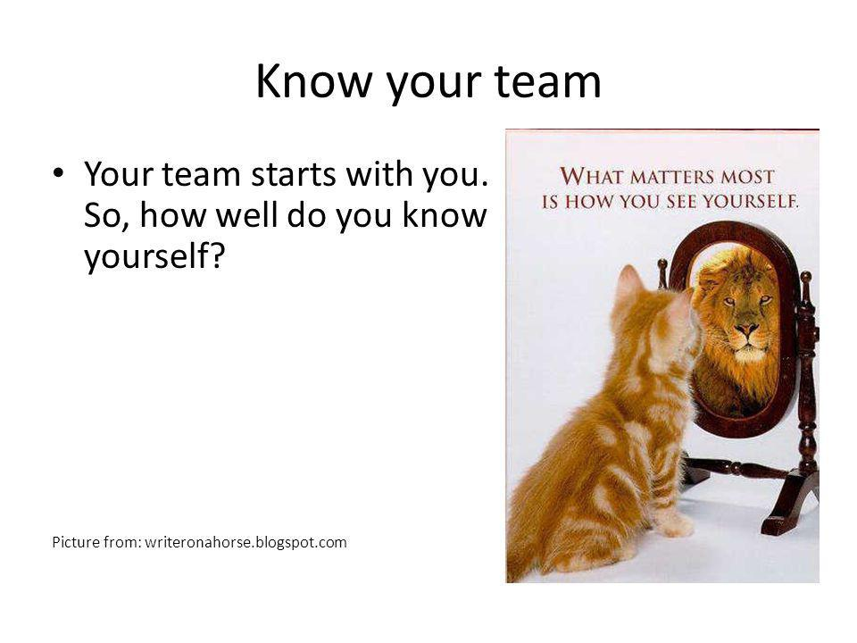 Know your team Your team starts with you. So, how well do you know yourself.