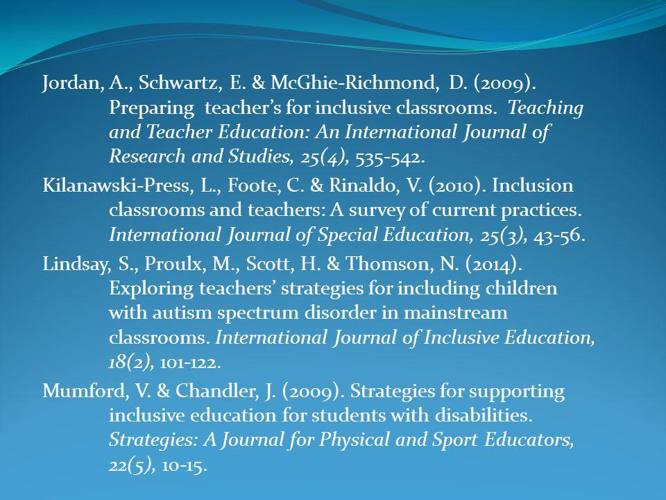 Jordan, A. , Schwartz, E. & McGhie-Richmond, D. (2009)