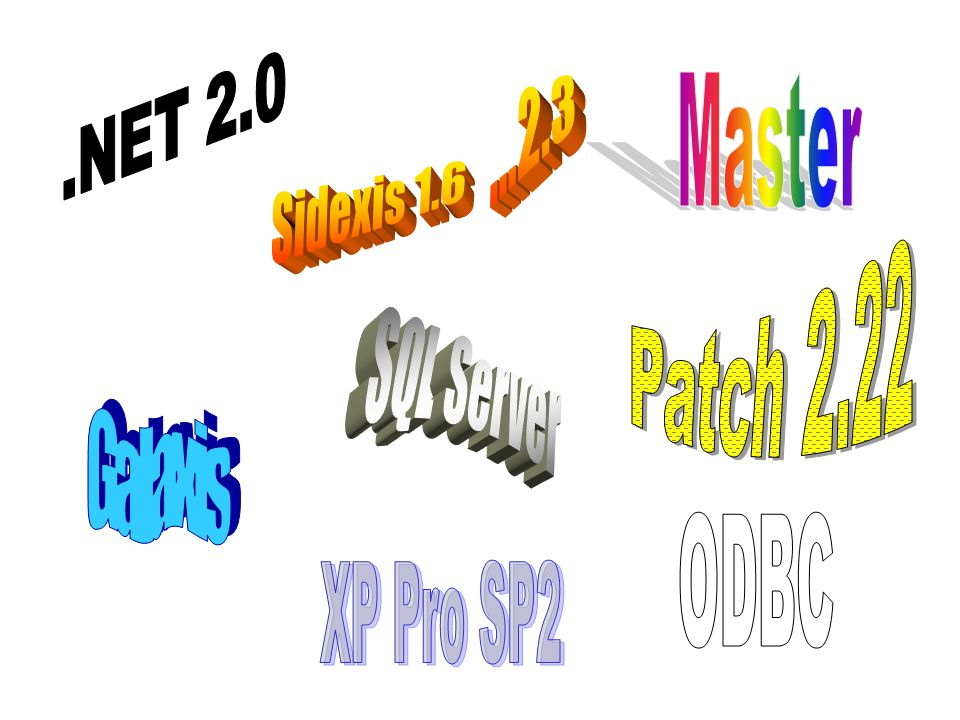 .NET 2.0 ...2.3 Master Sidexis 1.6 Patch 2.22 SQL Server Galaxis ODBC XP Pro SP2