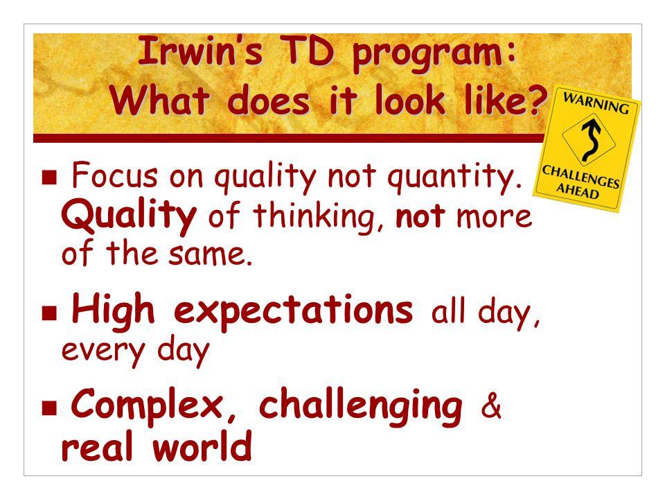 Irwin's TD program: What does it look like