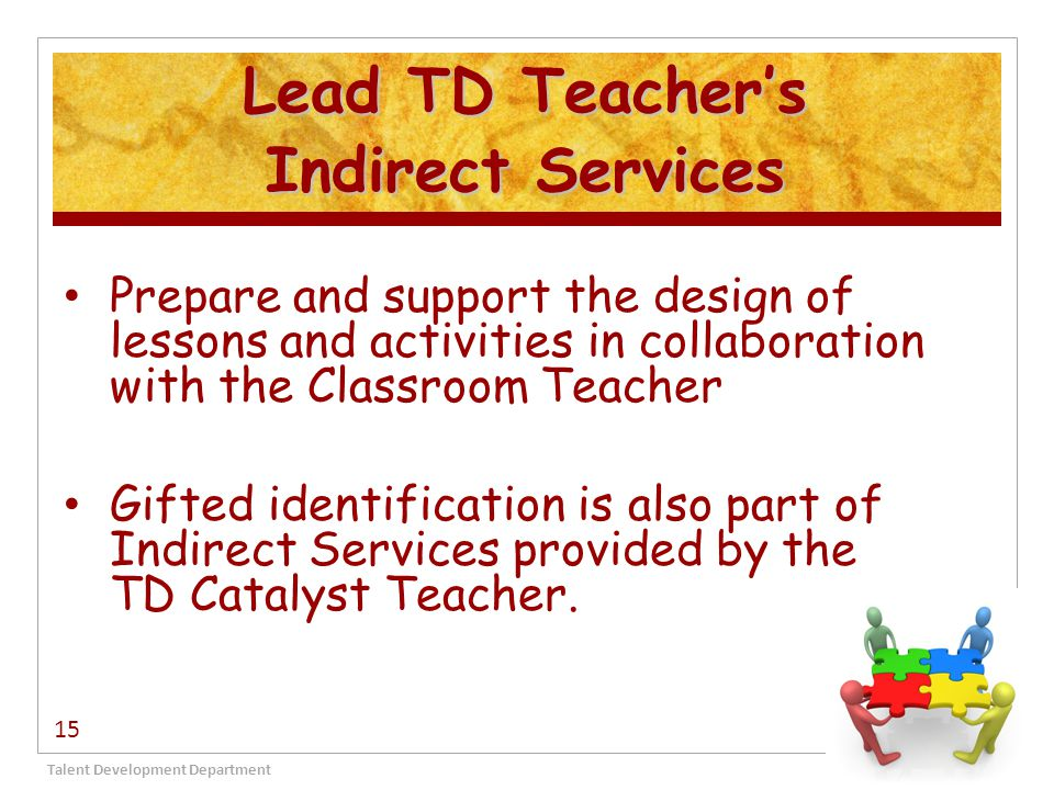 Lead TD Teacher's Indirect Services