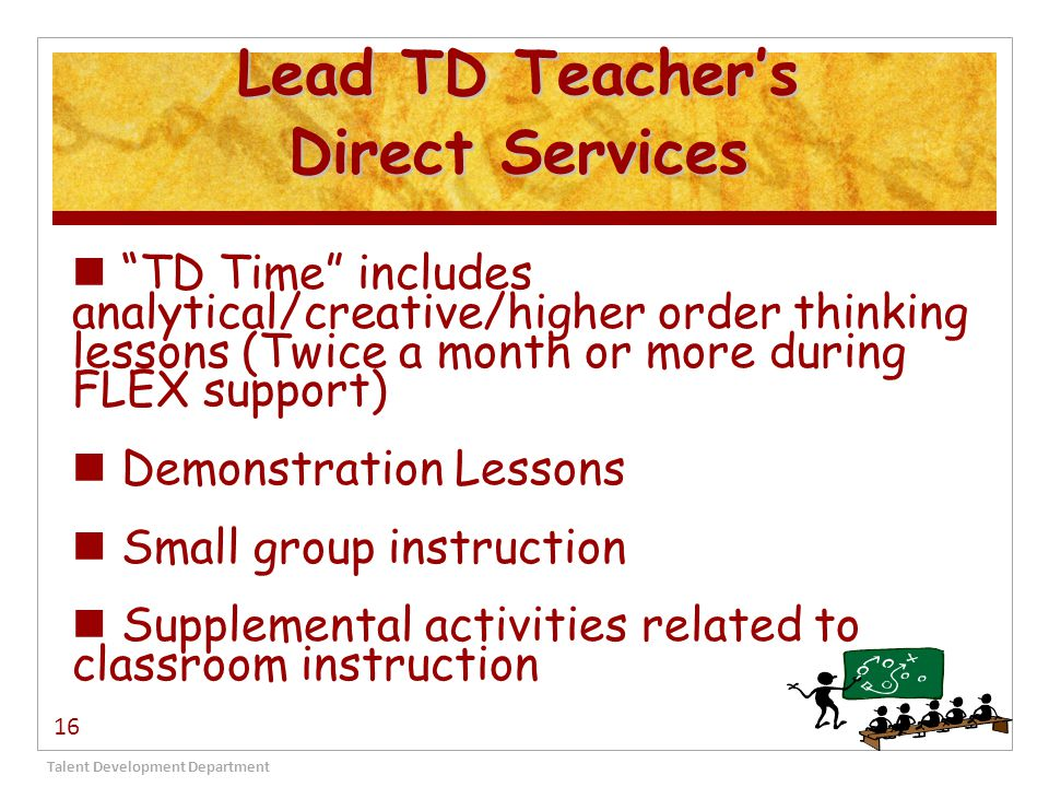 Lead TD Teacher's Direct Services