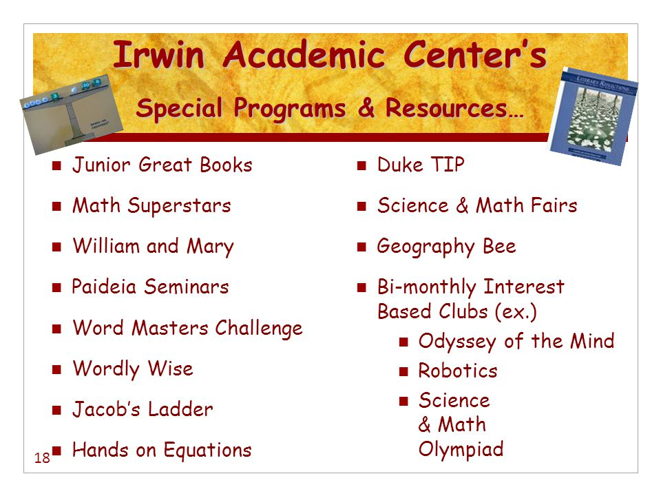Irwin Academic Center's Special Programs & Resources…