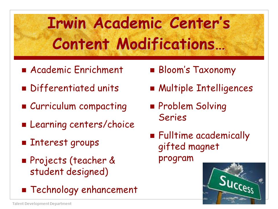 Irwin Academic Center's Content Modifications…