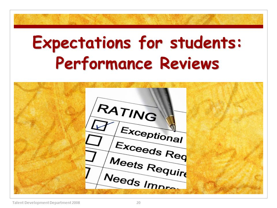 Expectations for students: Performance Reviews