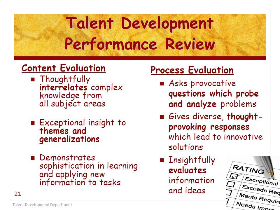 Talent Development Performance Review