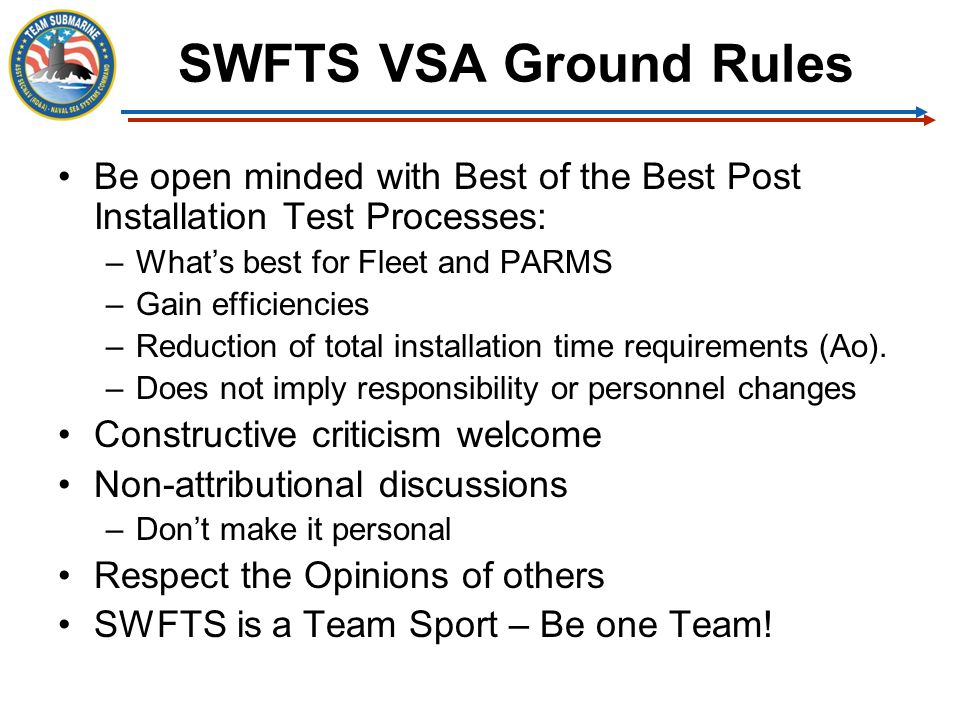 SWFTS VSA Ground Rules Be open minded with Best of the Best Post Installation Test Processes: What's best for Fleet and PARMS.