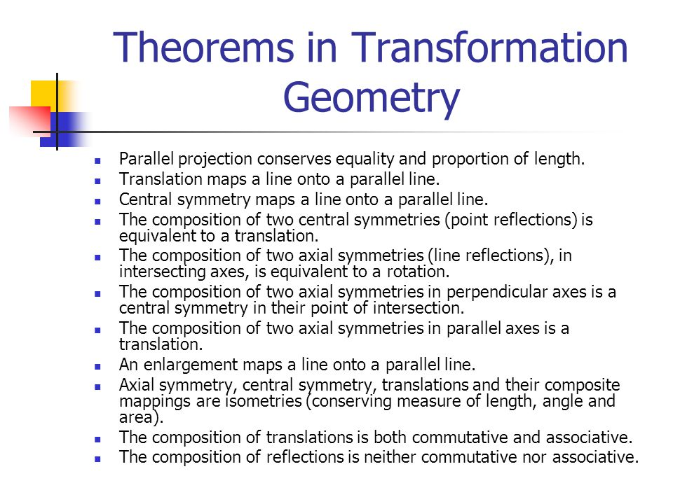 Theorems in Transformation Geometry