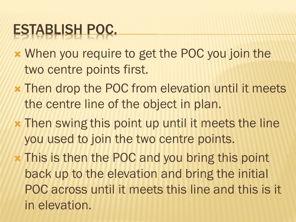 Establish poc. When you require to get the POC you join the two centre points first.