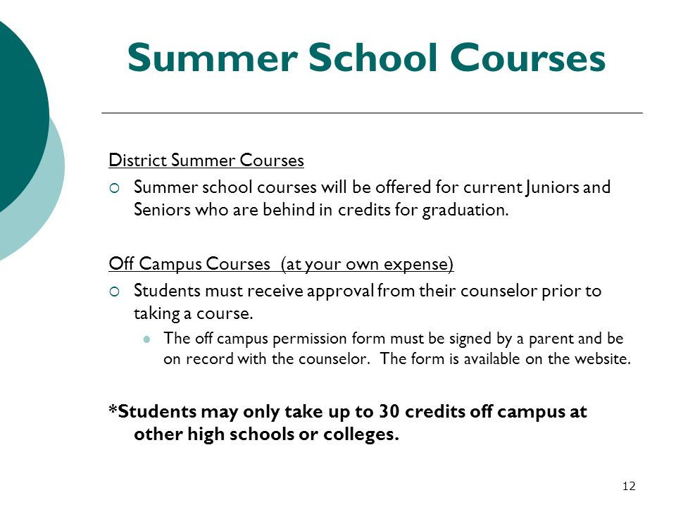 Summer School Courses District Summer Courses
