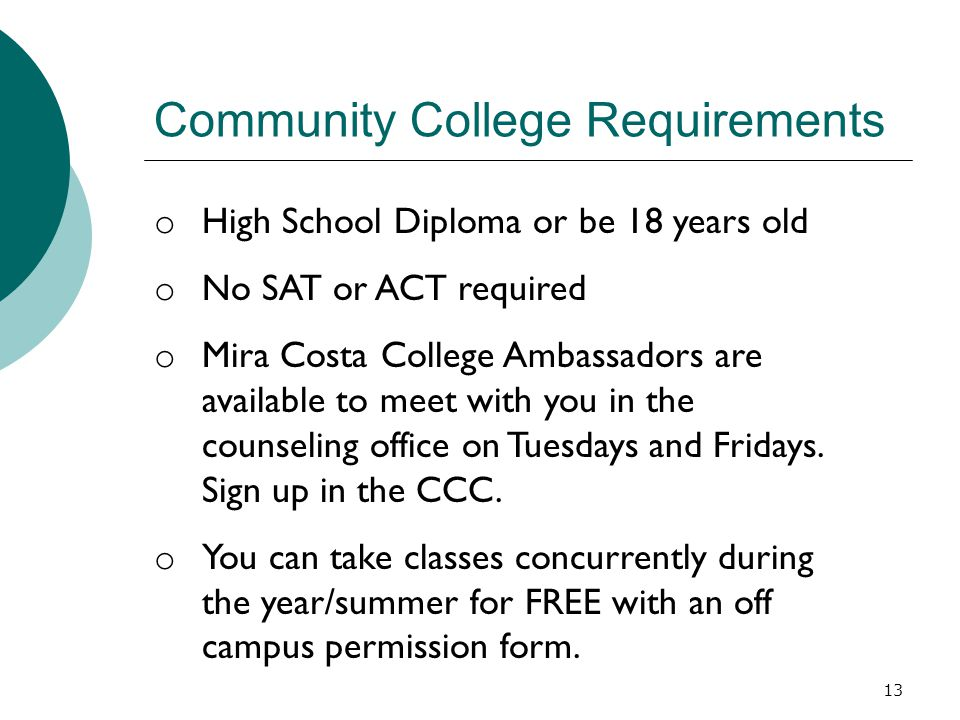 Community College Requirements