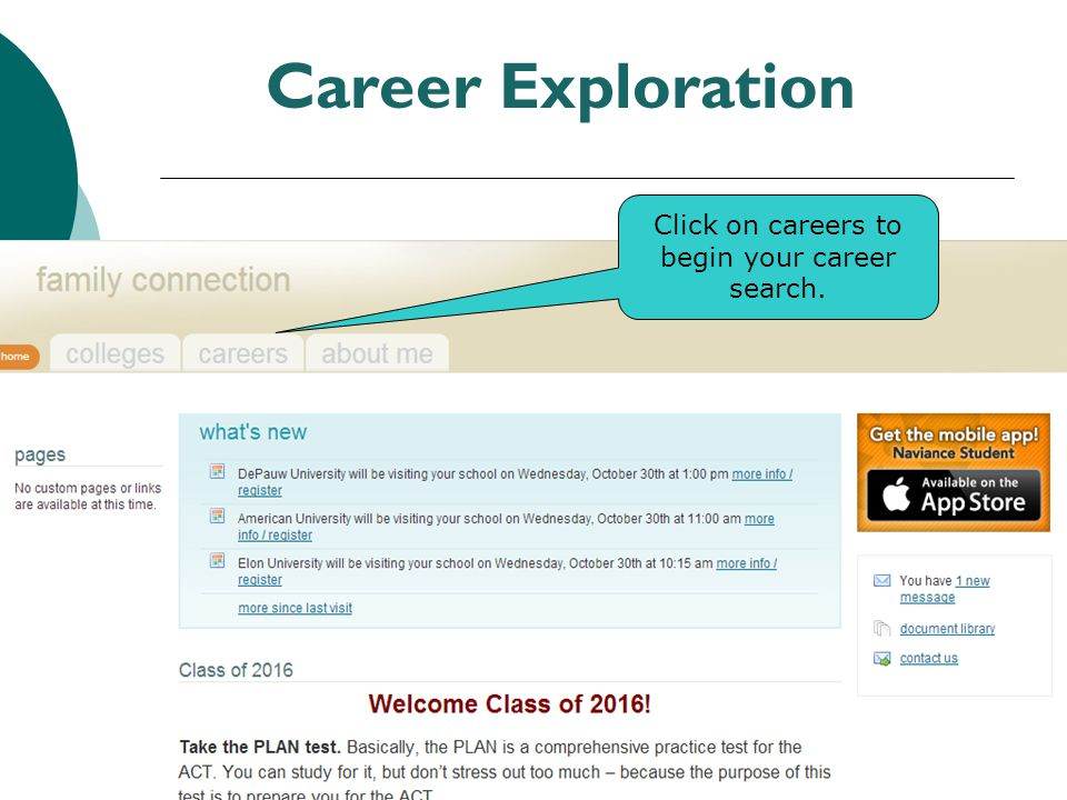 Click on careers to begin your career search.