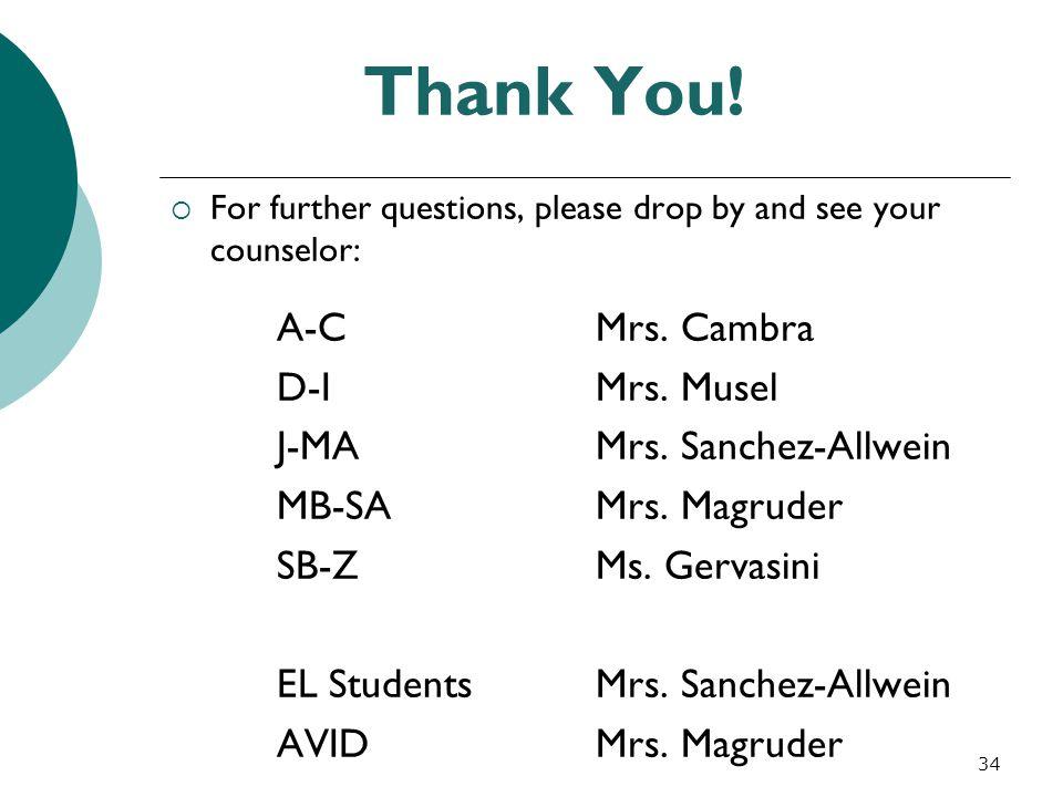 Thank You! D-I Mrs. Musel J-MA Mrs. Sanchez-Allwein