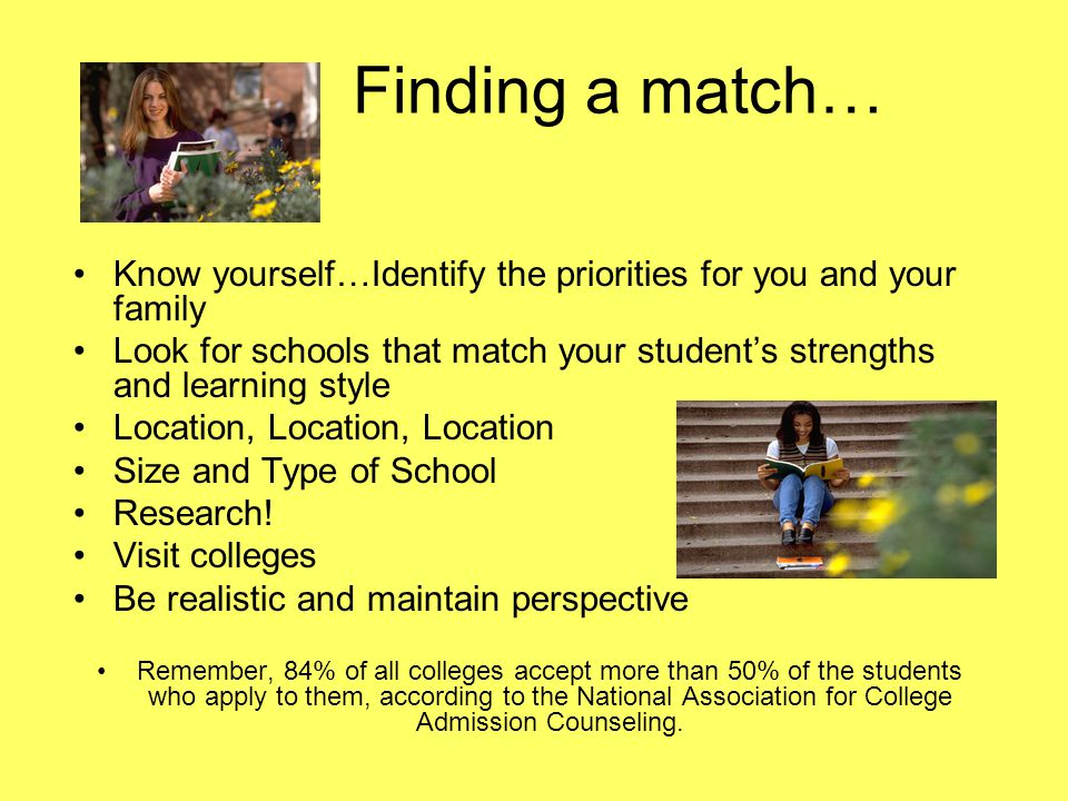Finding a match… Know yourself…Identify the priorities for you and your family.