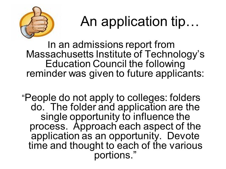An application tip…