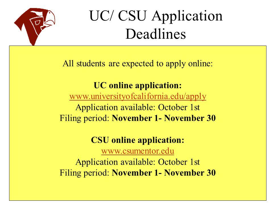 UC/ CSU Application Deadlines