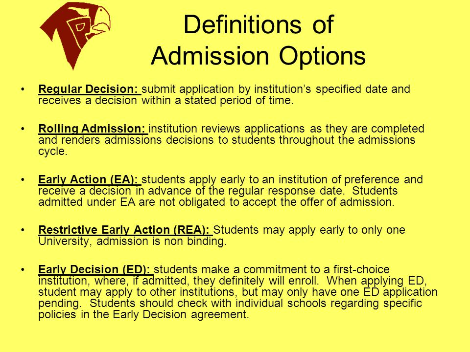 Definitions of Admission Options